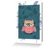 Cute Wild Life Hipster owl. Greeting Card