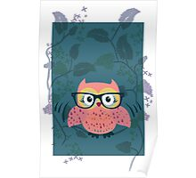 Cute Wild Life Hipster owl. Poster