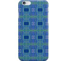 blue and lime stripes and squares iPhone Case/Skin