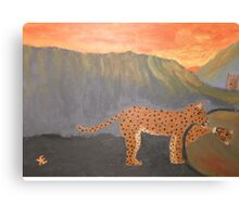 A Leopards Looking Glass Canvas Print
