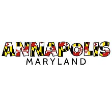 Annapolis Maryland flag word art Photographic Print