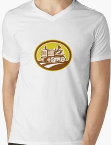 Farmer Drive Vintage Tractor Oval Retro Mens V-Neck T-Shirt