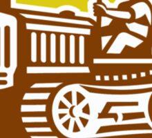 Farmer Drive Vintage Tractor Oval Retro Sticker