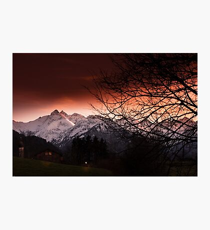 Mountain in sunset Photographic Print