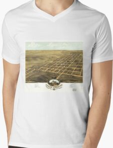 Bird's eye view Map of Young America Warren County Illinois (1869) Mens V-Neck T-Shirt