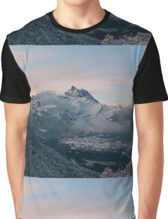 Snowy Mountains Morning Graphic T-Shirt