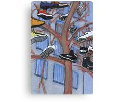shoes hanging from a tree Canvas Print