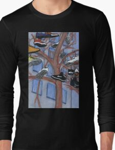 shoes hanging from a tree Long Sleeve T-Shirt