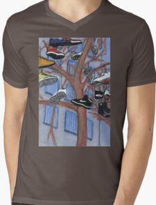 shoes hanging from a tree Mens V-Neck T-Shirt