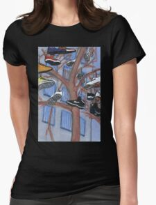 shoes hanging from a tree Womens Fitted T-Shirt