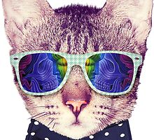 Hipster Cat with Glasses and Bow Tie Sticker by CrystalKnot