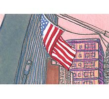 american flag in new york city Photographic Print