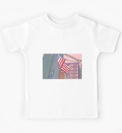 american flag in new york city Kids Tee