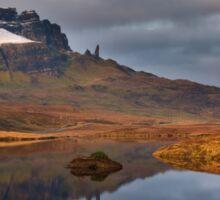 Old Man of Storr reflection.  Trotternish. Isle of Skye. Scotland. Sticker