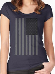 American Flag - Black and White Women's Fitted Scoop T-Shirt