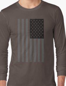 American Flag - Black and White Long Sleeve T-Shirt