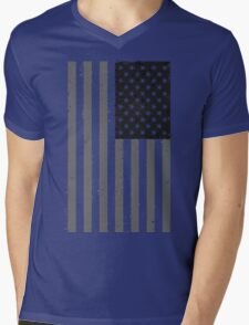 American Flag - Black and White Mens V-Neck T-Shirt