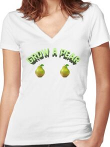 GROW A PEAR Women's Fitted V-Neck T-Shirt