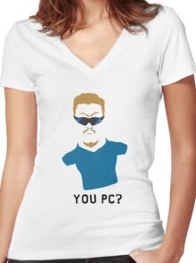 You PC Bro?  Southpark PC Principal (on white) Women's Fitted V-Neck T-Shirt