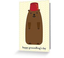 Happy Groundhog's Day » Yellow Chevron Wallpaper Edition Greeting Card