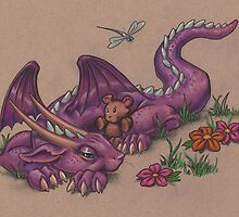 Napping Dragon (with teddy bear) by justteejay