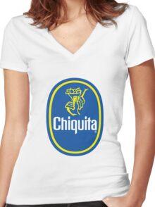 Chiquita Banana Logo Women's Fitted V-Neck T-Shirt