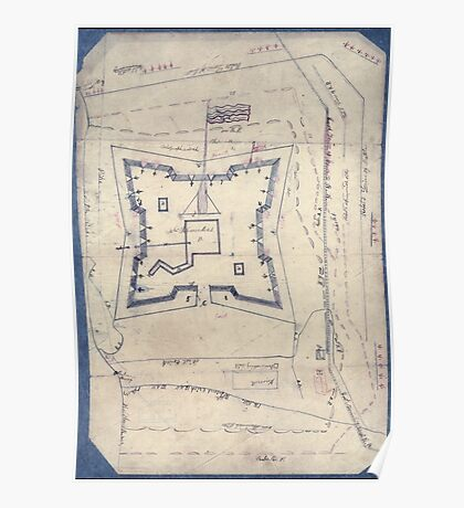 Civil War Maps 1994 Map of Fort Sanders Knoxville Tennessee showing the Confederate assault of Nov 29 1863 Poster