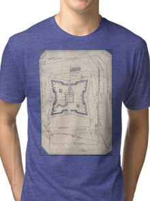 Civil War Maps 1994 Map of Fort Sanders Knoxville Tennessee showing the Confederate assault of Nov 29 1863 Tri-blend T-Shirt