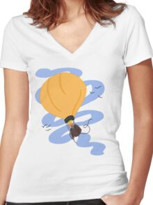 Hot Air Balloon in the Sky Women's Fitted V-Neck T-Shirt