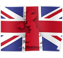 United Kingdom Flag And Map Poster
