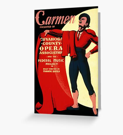 Vintage WPA Federal Music Project Opera Carmen Greeting Card