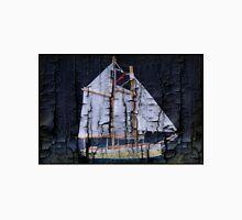 Sailboat Burnt Wood Unisex T-Shirt
