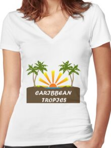 Caribbean Tropics  Women's Fitted V-Neck T-Shirt