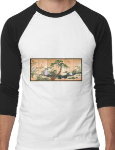 Kano Eino Birds and Flowers of Spring and Summer Men's Baseball ¾ T-Shirt
