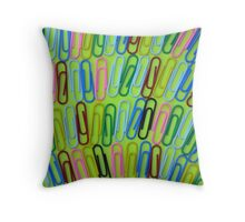 Colorful paperclips Throw Pillow
