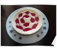 Raspberry Cheesecake on Vintage Plate Poster