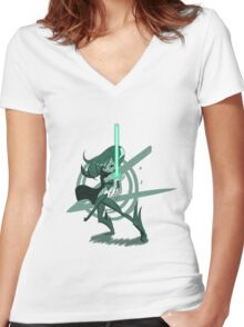 Fantasy Girl with Beam Saber Women's Fitted V-Neck T-Shirt