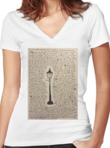 The Lamp Post Women's Fitted V-Neck T-Shirt