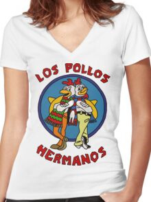 Los Polos Hermanos Women's Fitted V-Neck T-Shirt