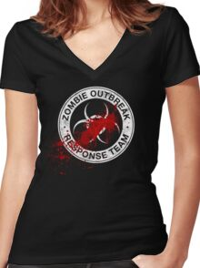 Zombie Outbreak Response Team Women's Fitted V-Neck T-Shirt