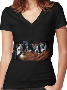 Safe In The Arms Of Love - Puppy Art Women's Fitted V-Neck T-Shirt