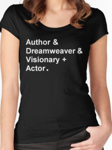 "Garth Marenghi ""Author & Dreamweaver & Visionary + Actor"" Women's Fitted Scoop T-Shirt"