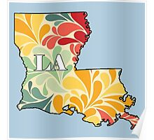 Floral Louisiana Poster