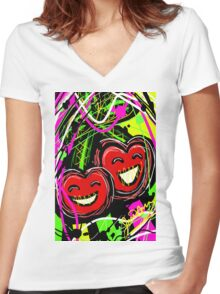Adorable Cherry  Women's Fitted V-Neck T-Shirt