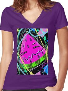 Adorable Watermelon Women's Fitted V-Neck T-Shirt