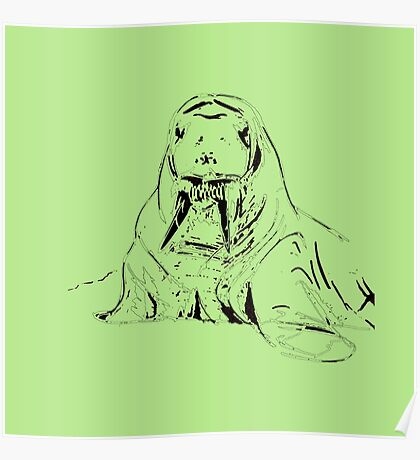 Playful Cute Adorable Fun Pencil Sketched Walrus Poster