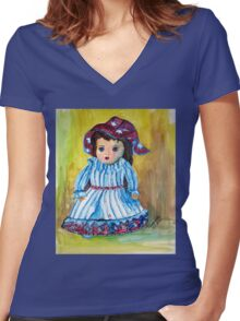 Marietjie, my pop / my doll Women's Fitted V-Neck T-Shirt