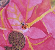 Lady Bugs on Red Leaves Sticker