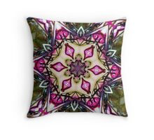 Hot pink beads and wire mandala. Throw Pillow