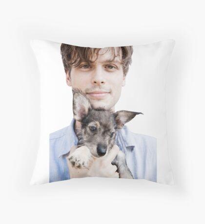 Matthew Gray Gubler Holding Puppy Throw Pillow